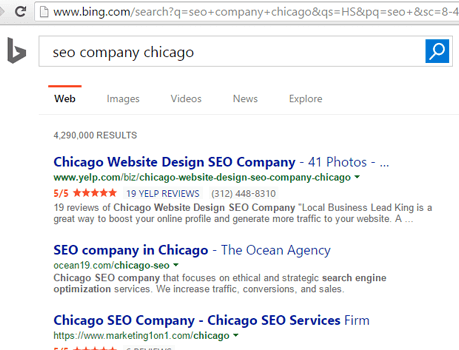 image of bing search for seo company chicago