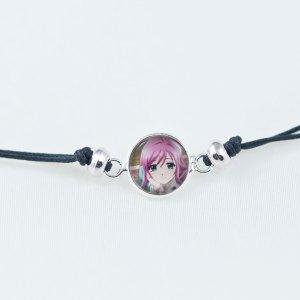 Chica Manga Bracelet slide knot Moka dark grey cord with round beads