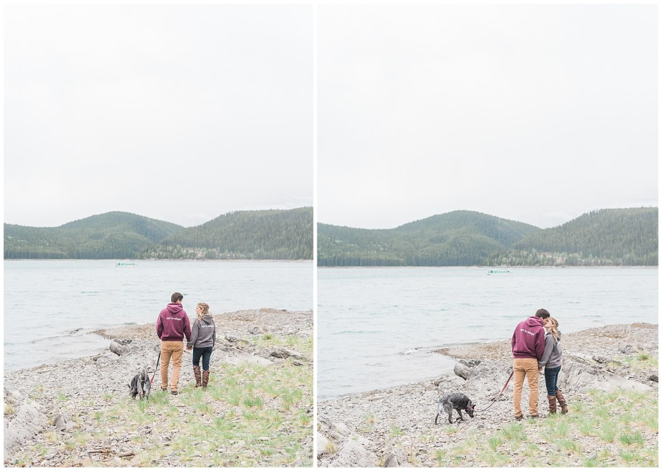 Rainy day Lake Minnewanka enagement session