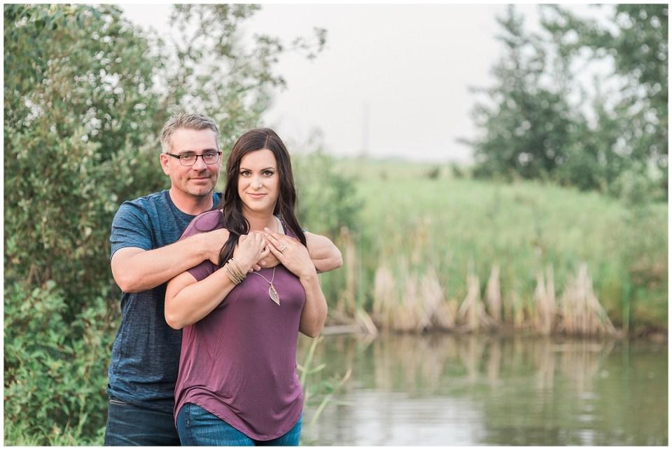 Smokey day summer engagement session in Camrose Alberta