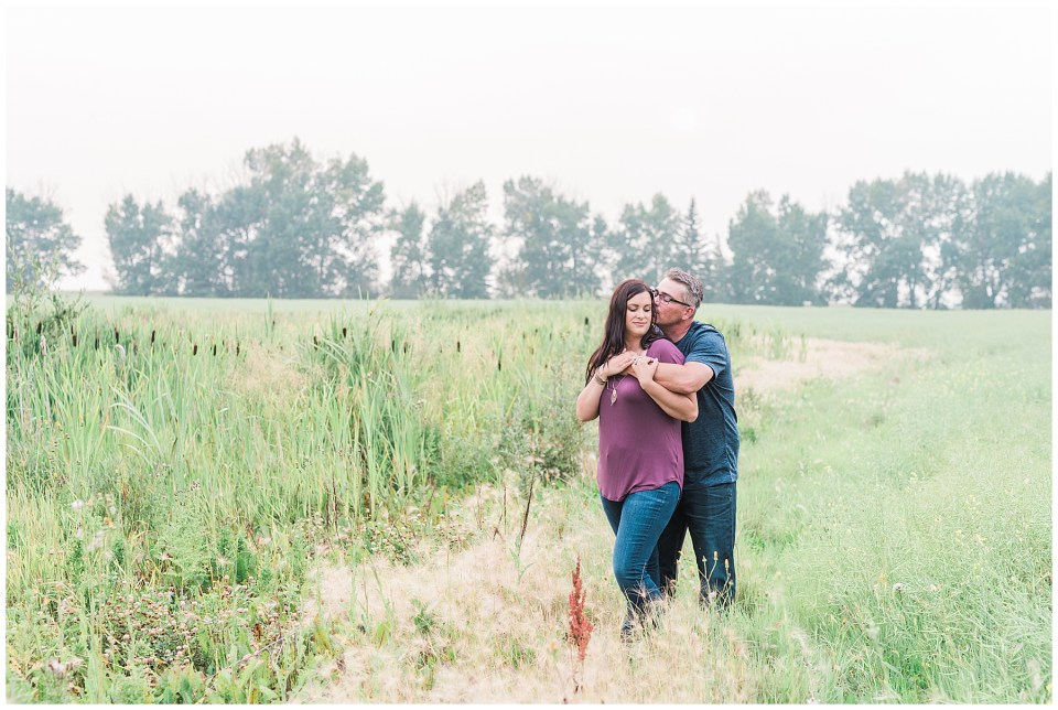 Smokey day summer engagement session in Camrose Alberta