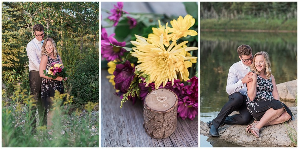 Engagement session at mitchell Pond, Heritage Ranch Red Deer