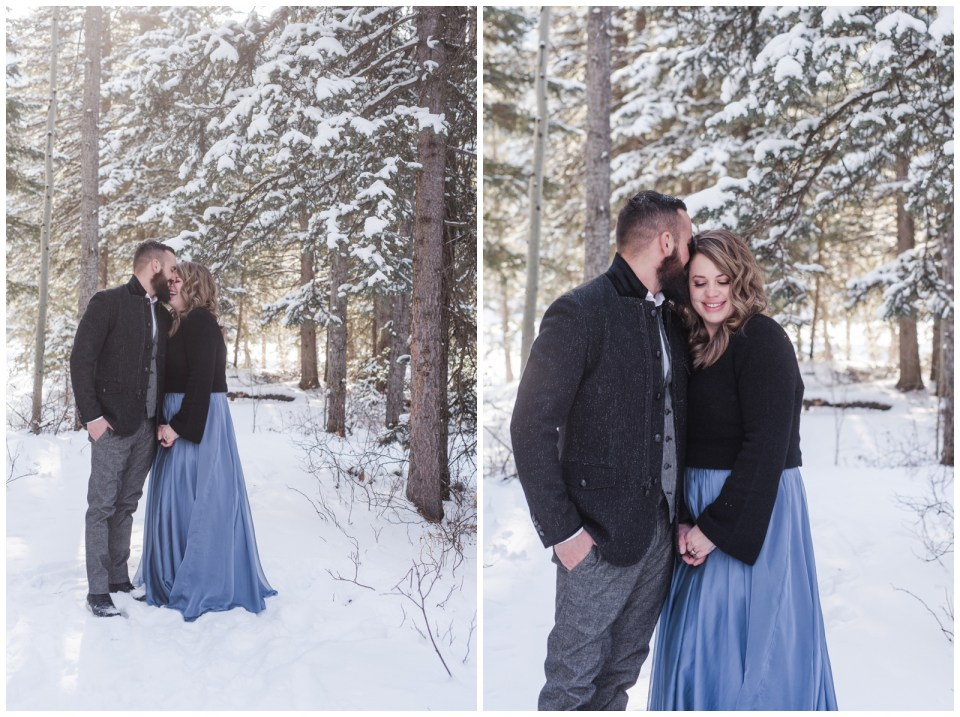 Winter engagement session at Elbow Falls
