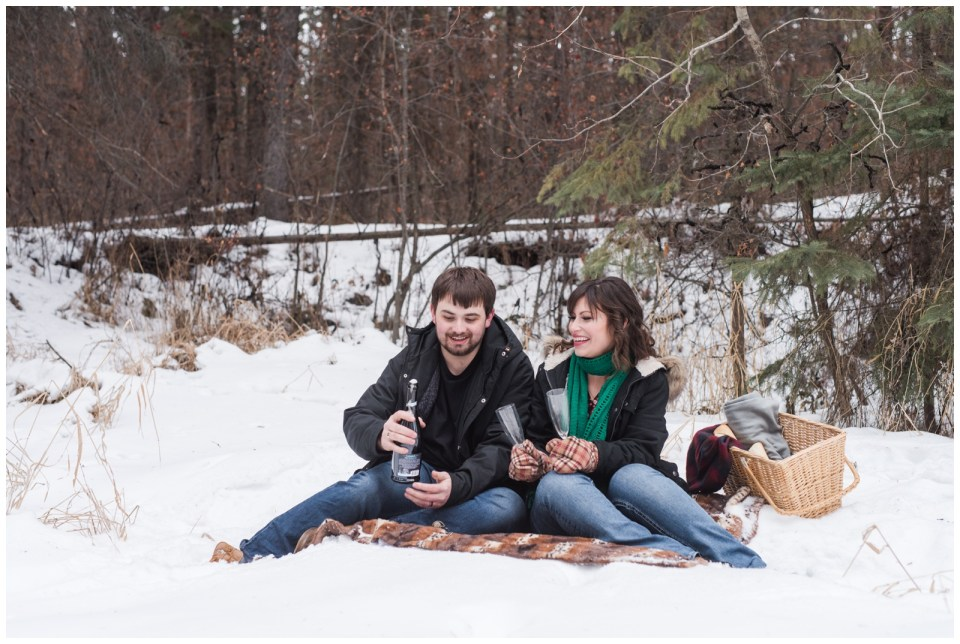 Get a tattoo for your engagement photos and finish with a champaign picnic.