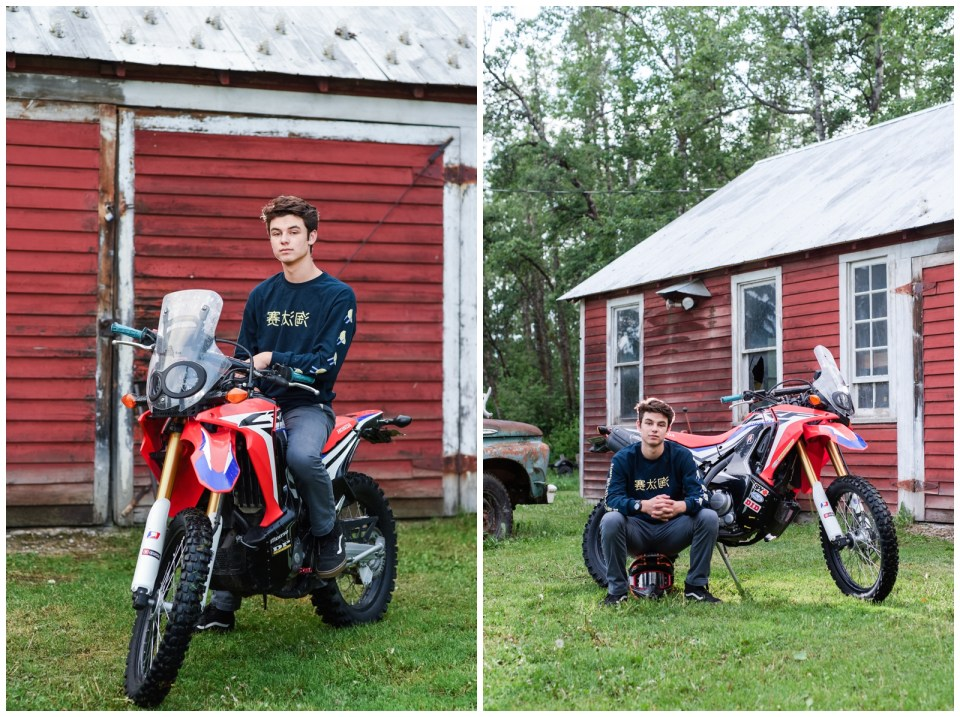 Red Deer Casual & Formal Graduation Photos with his car and dirt bike