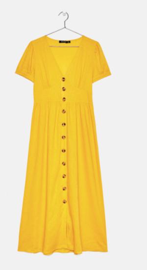 Robe mi longue jaune Bershka