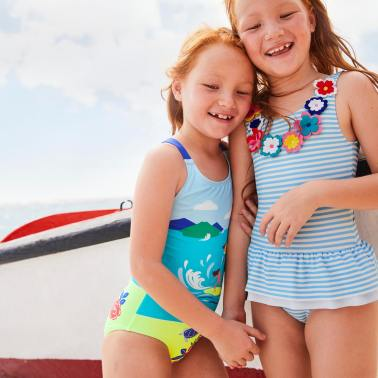 twin girls models boat curacao mini boden swimwear beach