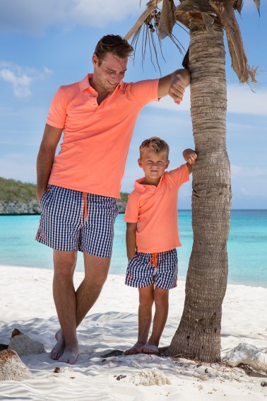 Father and son chilling at Palmtree on Curacao