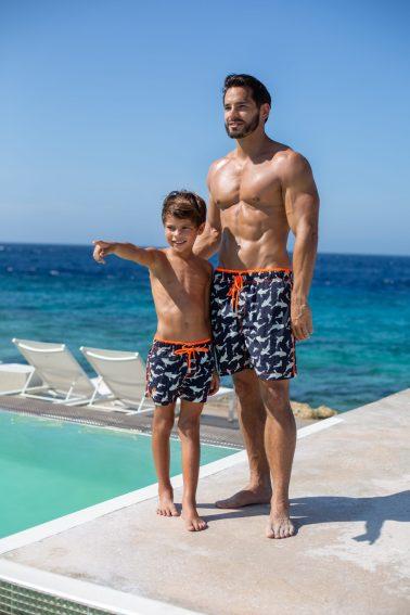 Fun father son photo shoot swimwear