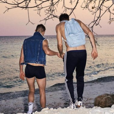 Jan & Tim on a private beach for L'HOMO covershoot