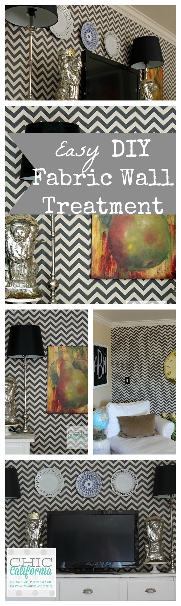 Easy DIY Fabric Wall Treament collage