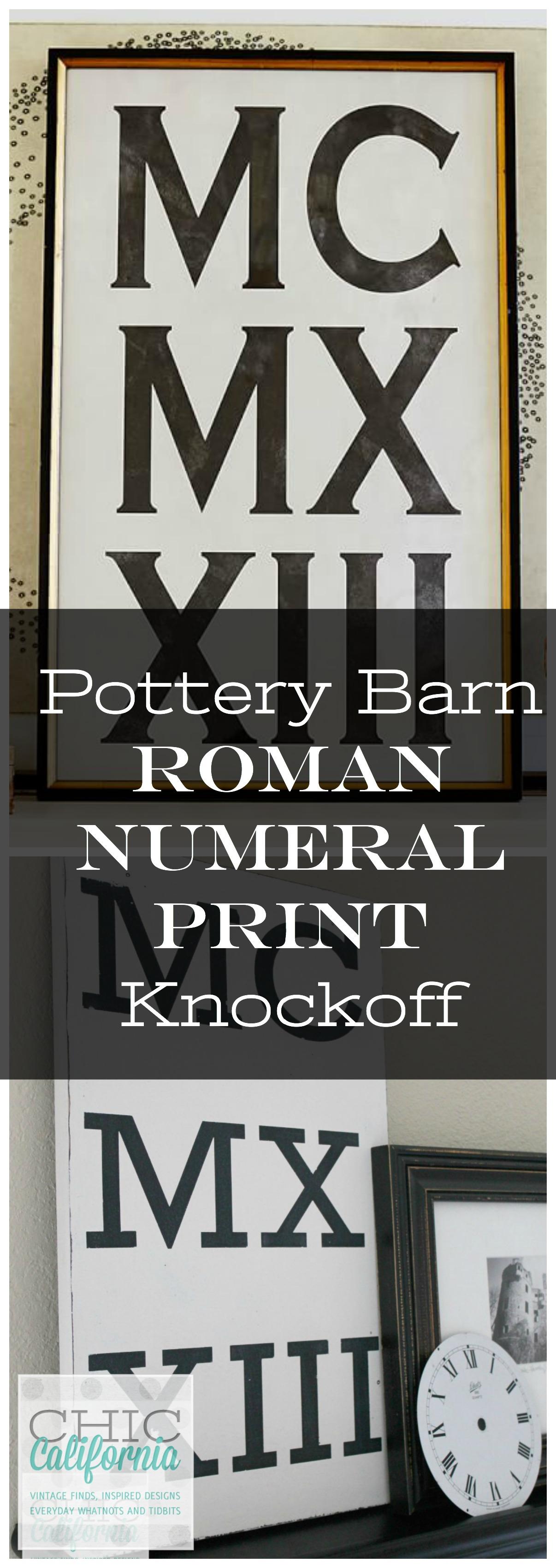 Pottery Barn Roman Numeral Art Knockoff