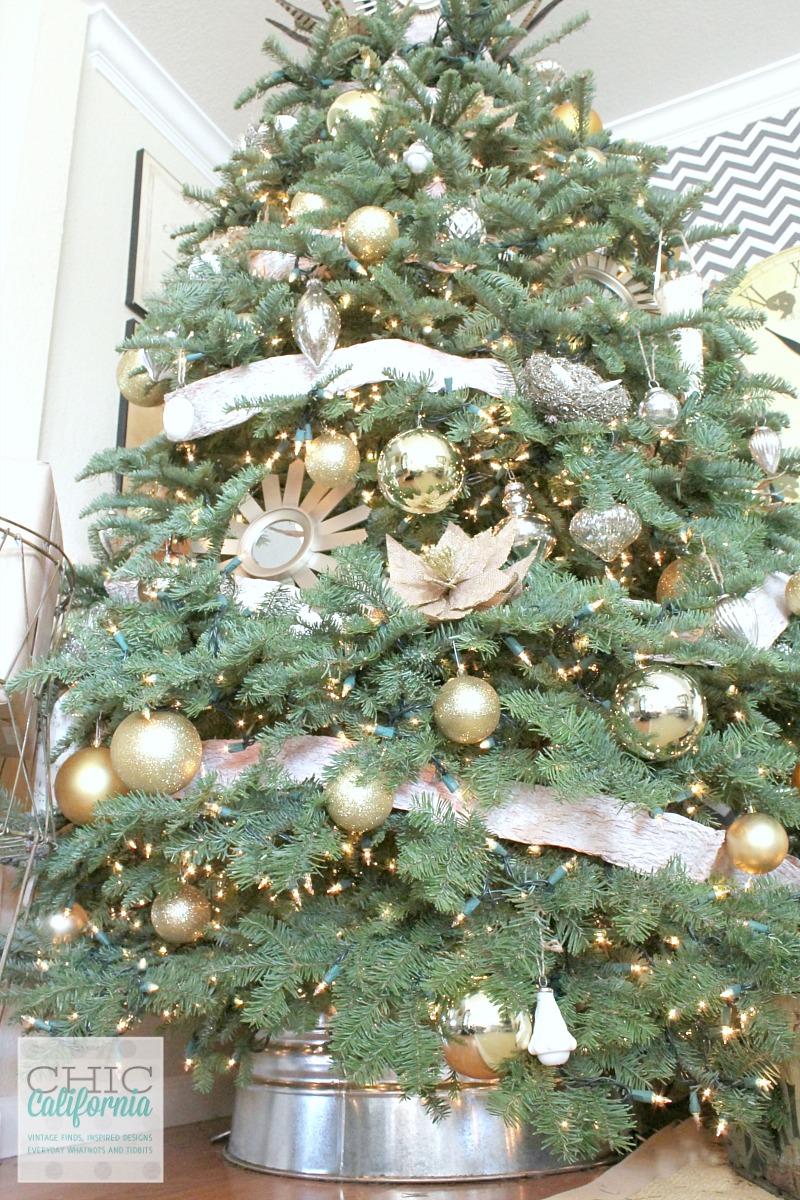 Christmas Tree with Galvanized Bucket Tree Skirt