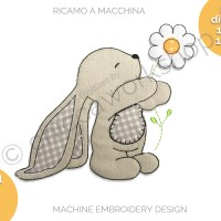 Bunny flower - Applique a bordo grezzo - Ricamo a macchina