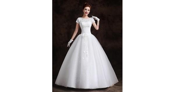 Ball Gown Floor-length Wedding Dress -Bateau Lace,Cheap Uk