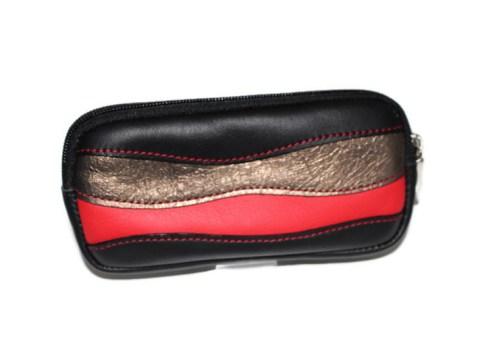 Pochette cuir noir rouge et bronze