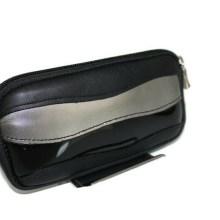 Pochette cuir noir gris métal