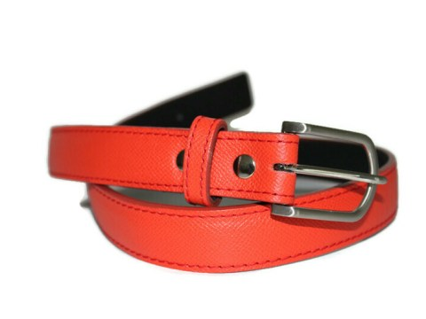 Ceinture cuir orange tonique