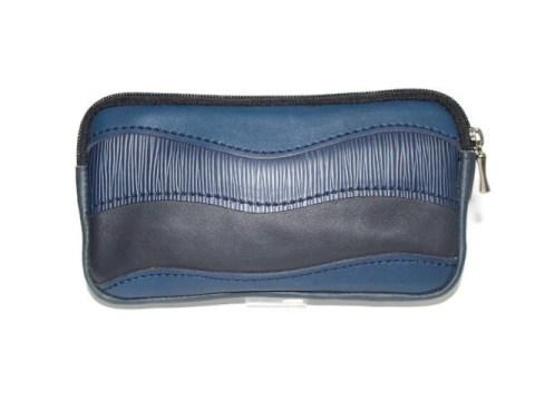 Trousse cuir bleu marine et noir