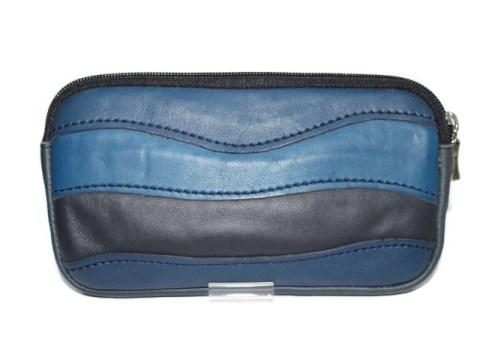 Trousse cuir bleu marine