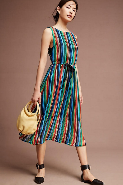 Throw On and Go Style Dresses Rainbow Crochet Midi Dress Anthropologie
