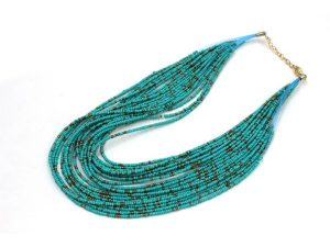 Choker Beads Necklace Blue