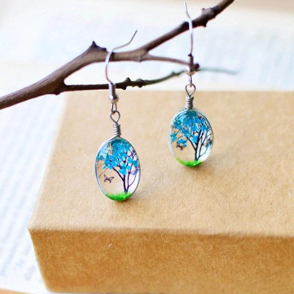 Plant-Drop-Earring-Blue