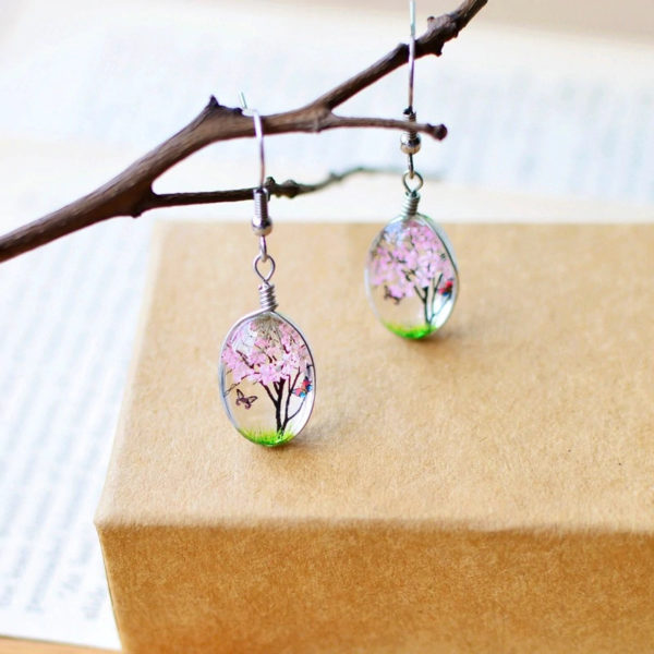 Plant-Drop-Earring-Pink