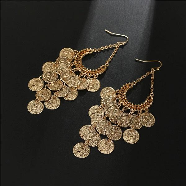 Coin Pendant Earrings Gold