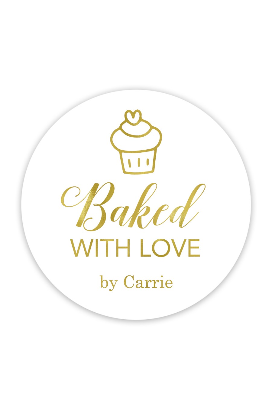 Download Baked With Love Cupcake Favor Stickers (Circle) - Chicfetti