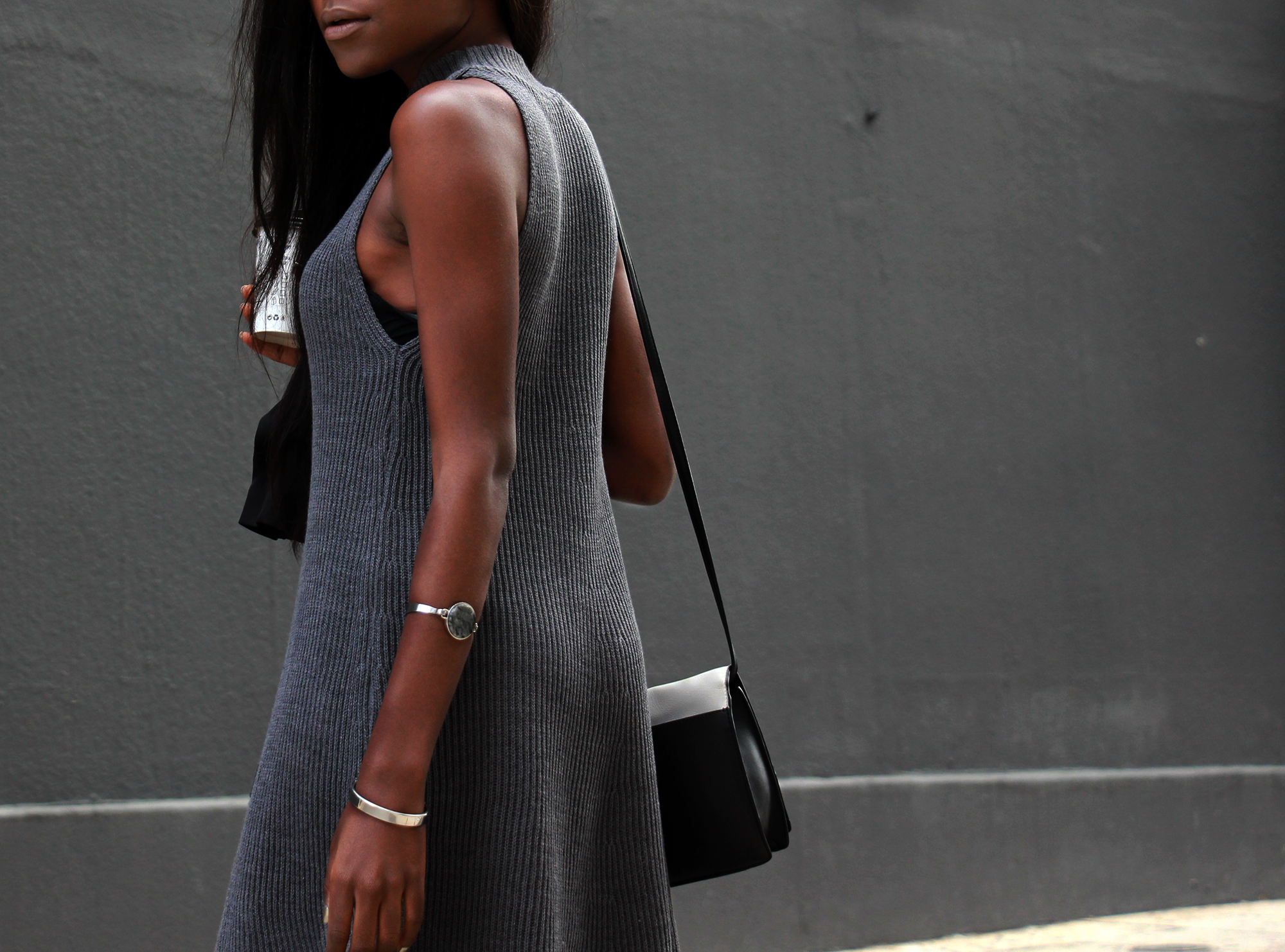 grey-dress-black-blazer-outfit