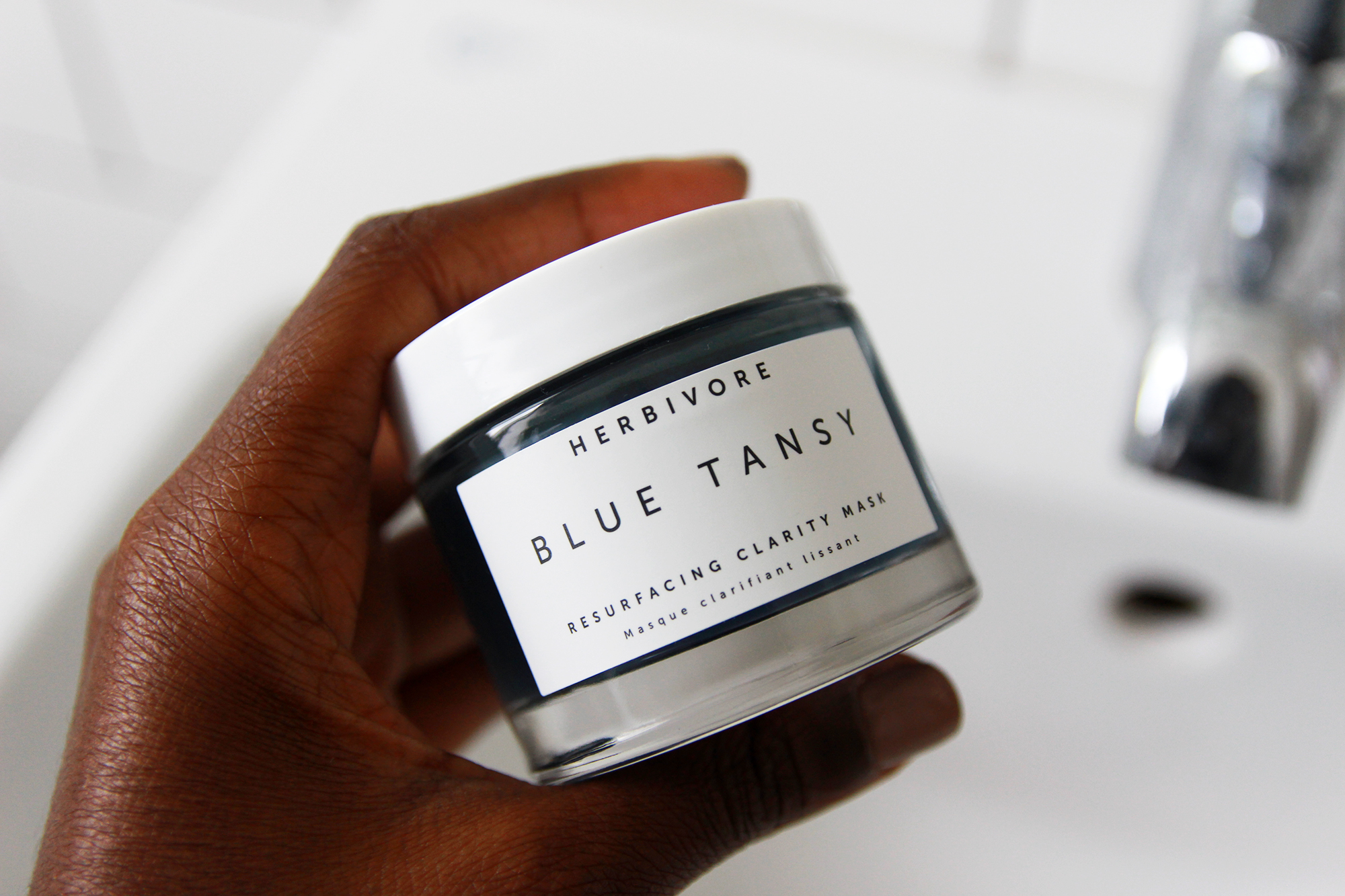 herbivore blue tansy mask for luminous glowy skin.