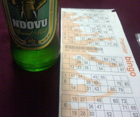 Bingo Card at Upanga Club with Ndovu Beer