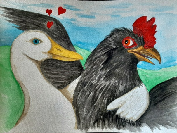 Watercolor of White Pekin Duck Flirting with Rooster, Courtesy of Paul Smith