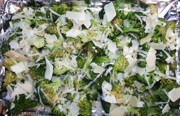 Oven roasted broccoli with cheese