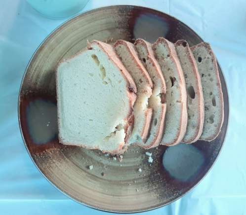 sliced pound cake on a brown plate
