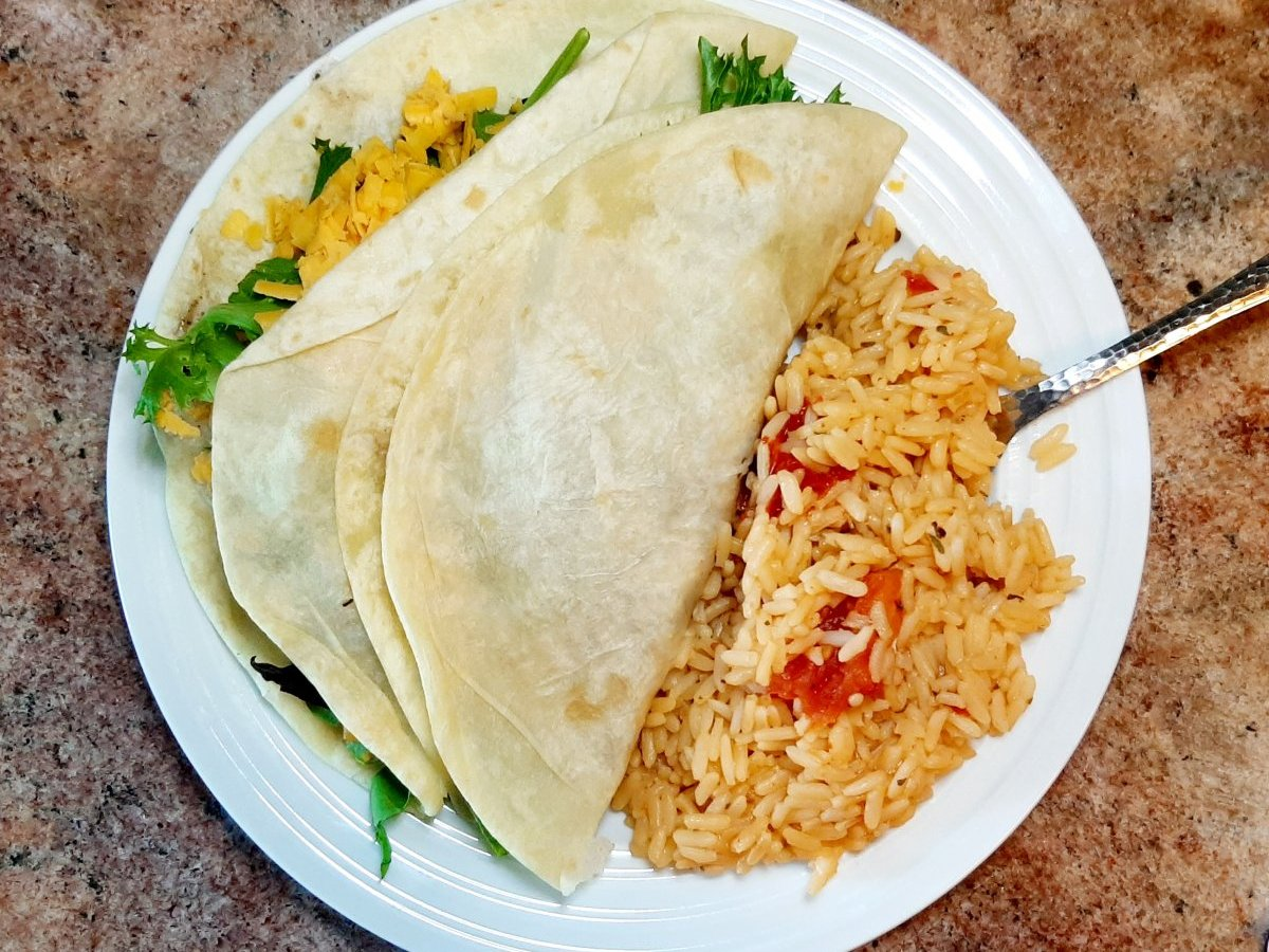 soft taco with Mexican rice