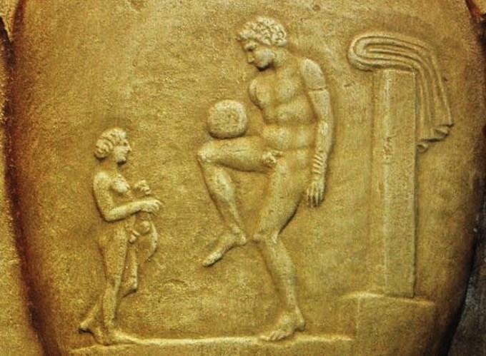 Marble relief showing Harpastum.