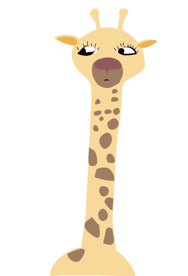 A slightly worried giraffe realises there are less giraffe around her