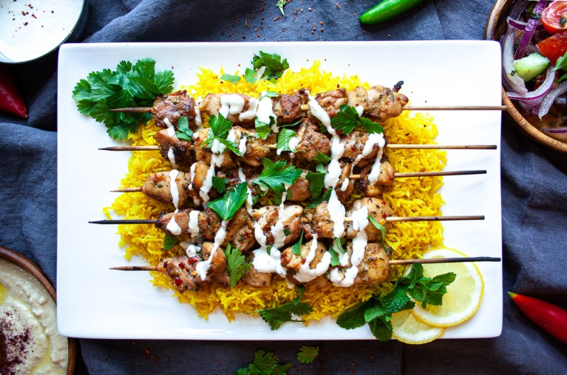 Mediterranean-Style Chicken Skewers with White Sauce