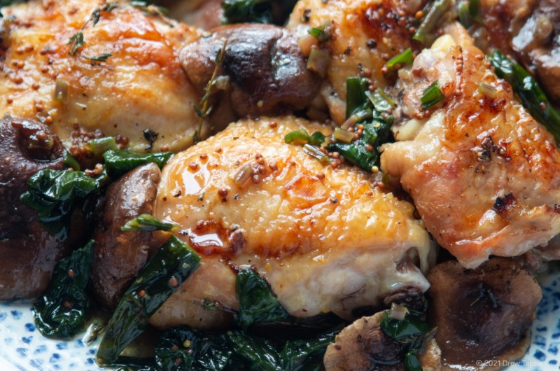 Chicken Thighs Roasted with Ramps and Mushrooms