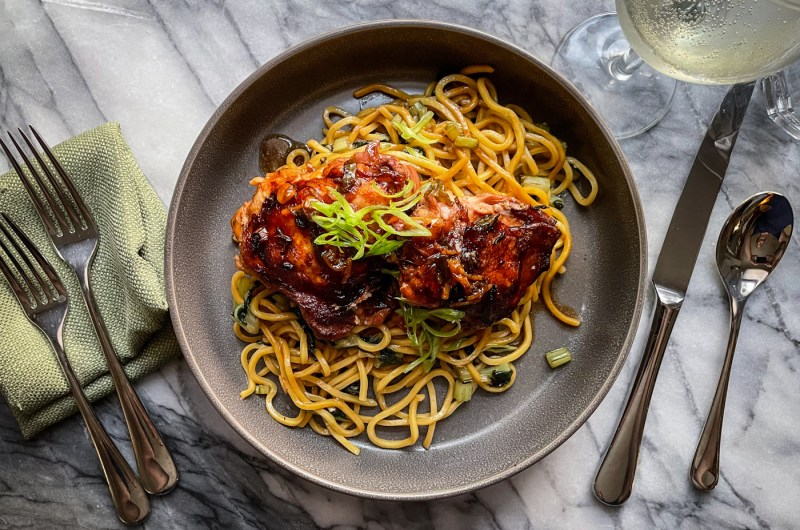 Ginger Scallion Chicken Thighs with Greens and Noodles