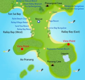 MAPA RAILAY BEACH
