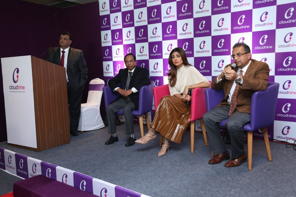L to R Mr Ramachandra, Founder Director, Shilpa Shetty and Dr Kishore Kumar, Founder and MD Cloudnine Hospital