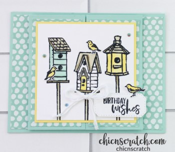 Garden Birdhouses Fun Fold Card