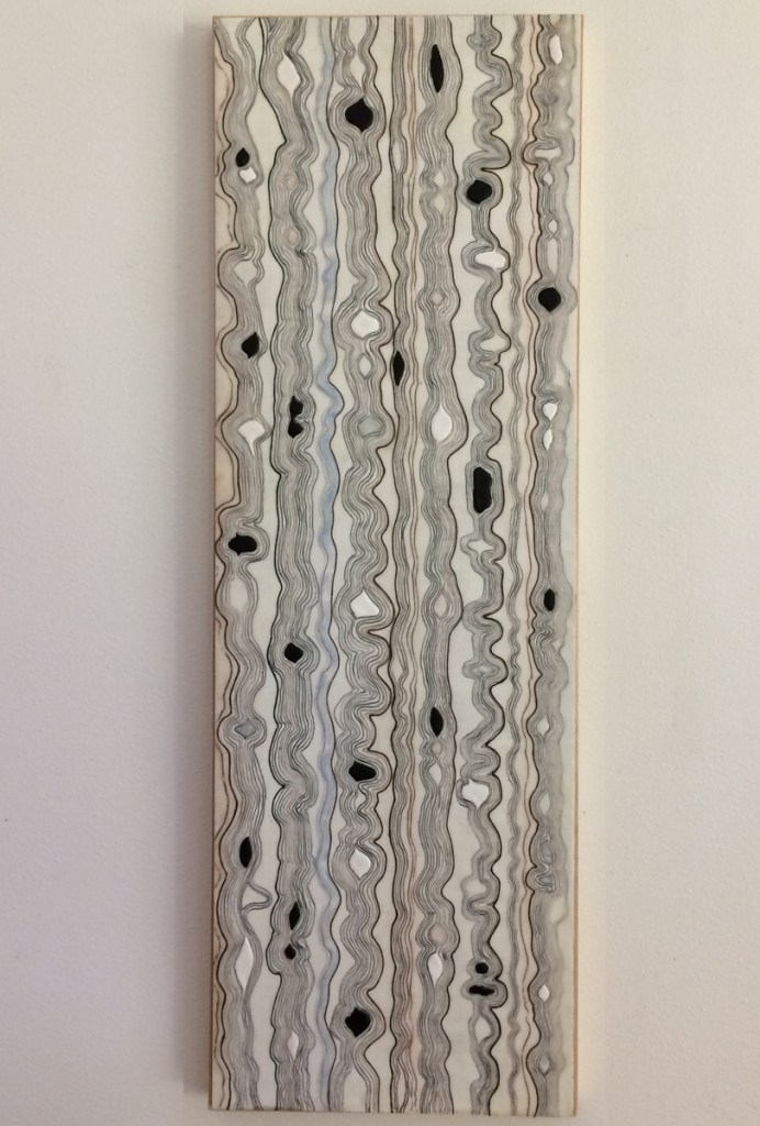 "Paula Busch, ""Weaving 2"", 2018, Encaustic, 45""x 15"", $800"
