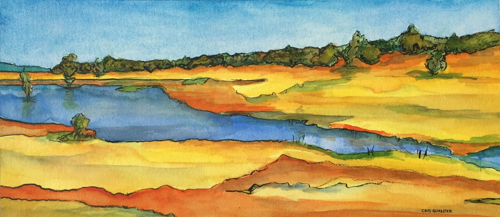 Cris Guenter, Horseshoe Lake, 2018, Ink and Watercolor, 16x7 inches