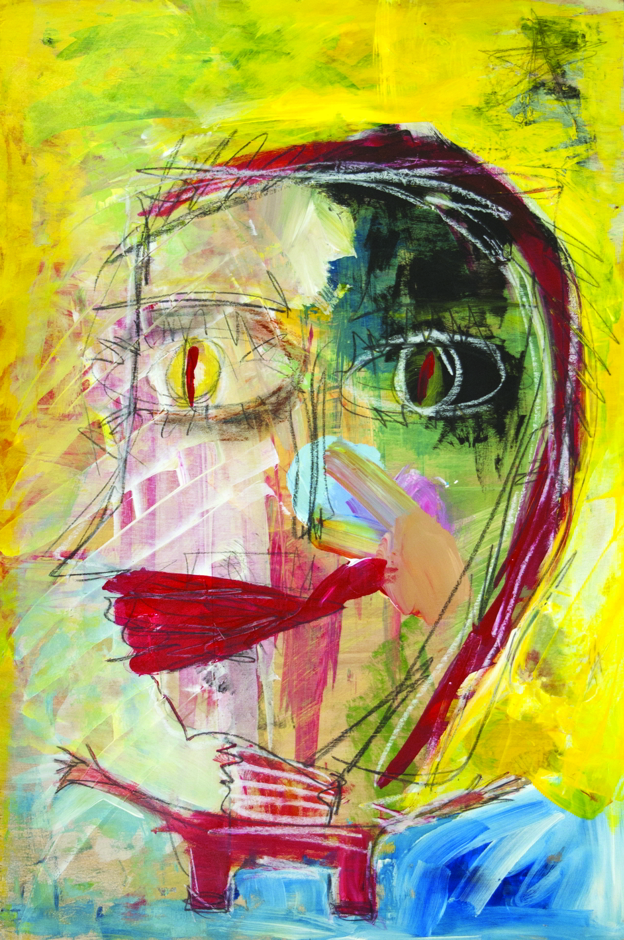 Barbara Martin, Le Petit Garcon, 2016, Acrylic, oil pastel and pencil on cradled panel, 24x16x1.75 inches, $400