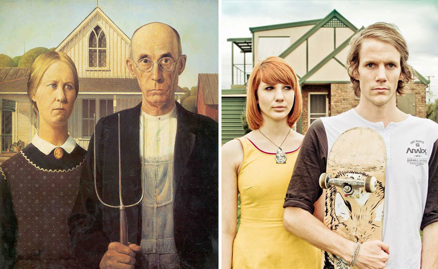 Right: Grant Wood, American Gothic, Right: Unknown