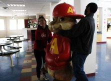 Alvin gets a lift. The life-sized chipmunks were just a few of the quirky activities the students got to help with.